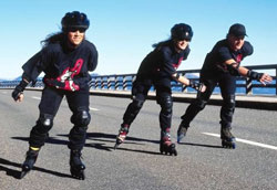 Inline skating on the road